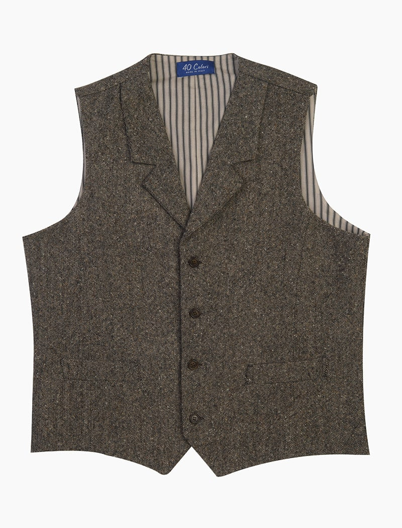Taupe Donegal Wool Classic Waistcoat | 40 Colori Made in Italy Menswear
