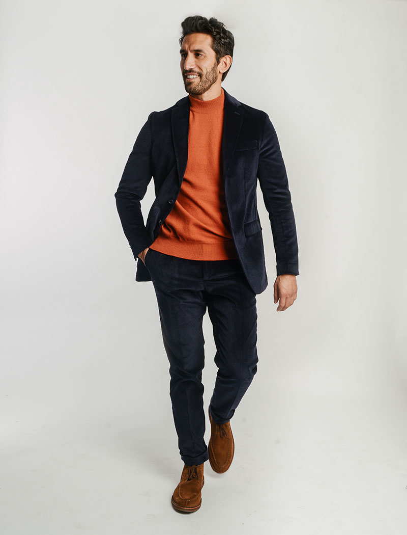Navy Corduroy Slim Trousers | 40 Colori Made in Italy Menswear
