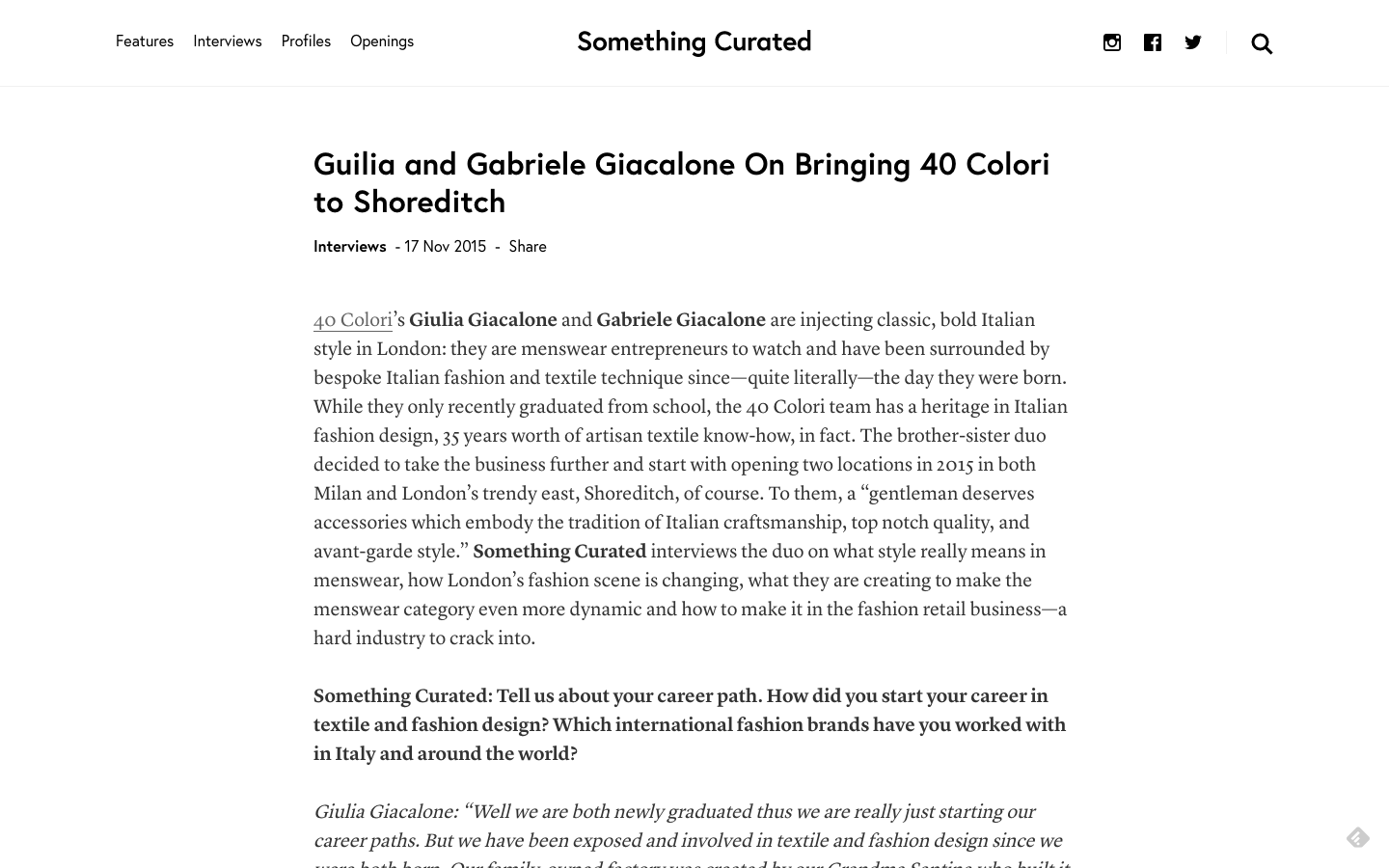 SOMETHING CURATED for 40 Colori