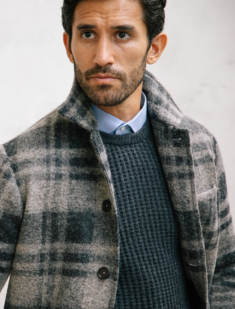 Grey Waffle Knit Wool & Cashmere Jumper | 40 Colori Made in Italy Menswear