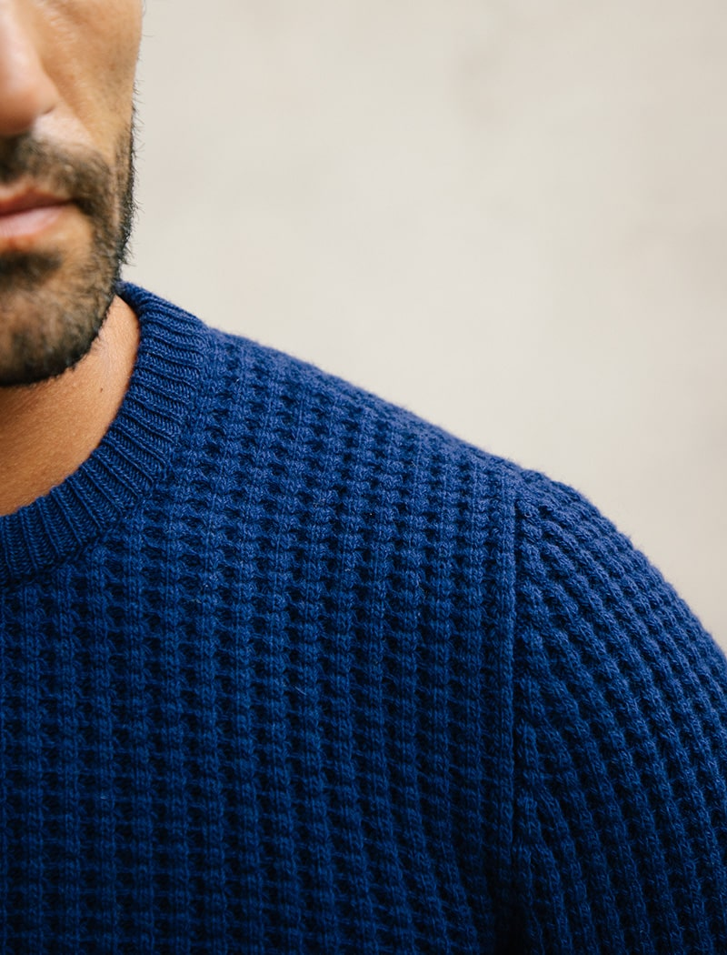 Royal Blue Waffle Knit Wool & Cashmere Jumper | 40 Colori Made in Italy Menswear