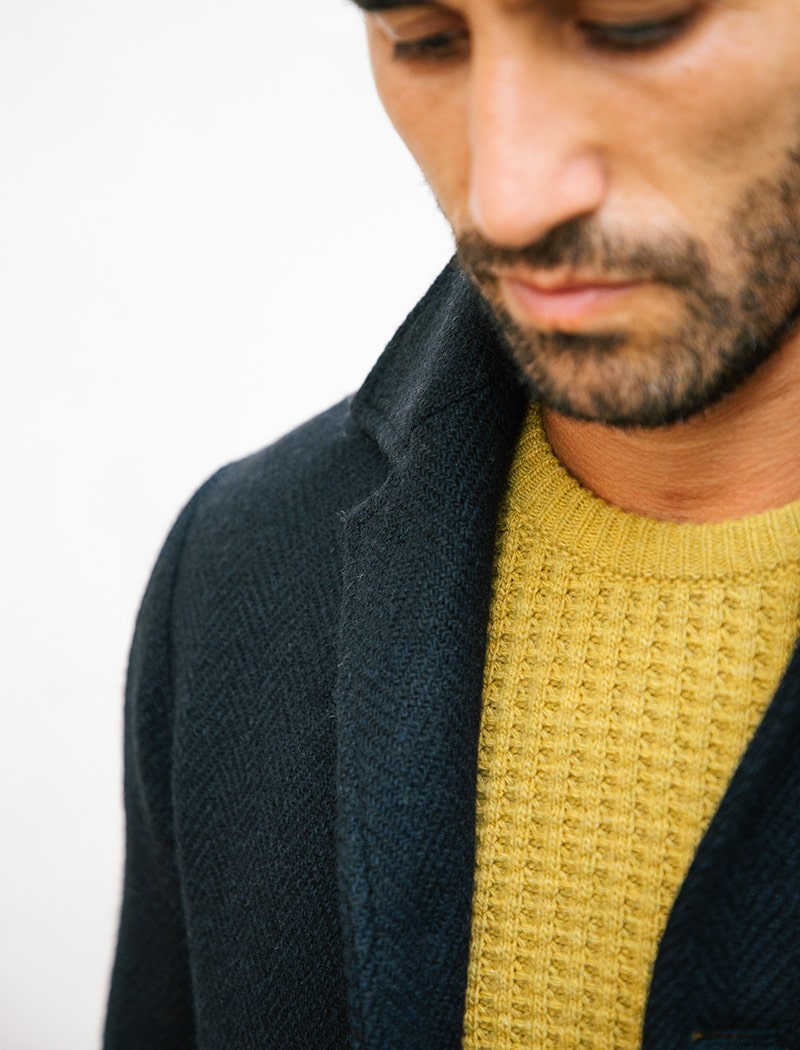 Mustard Yellow Waffle Knit Wool & Cashmere Jumper | 40 Colori Made in Italy Menswear