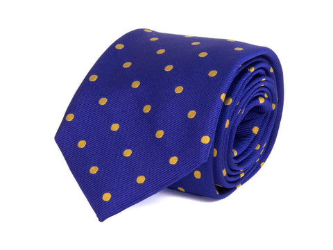 Royal Blue - Yellow Big Dotted Woven 100% Silk Classic Tie
