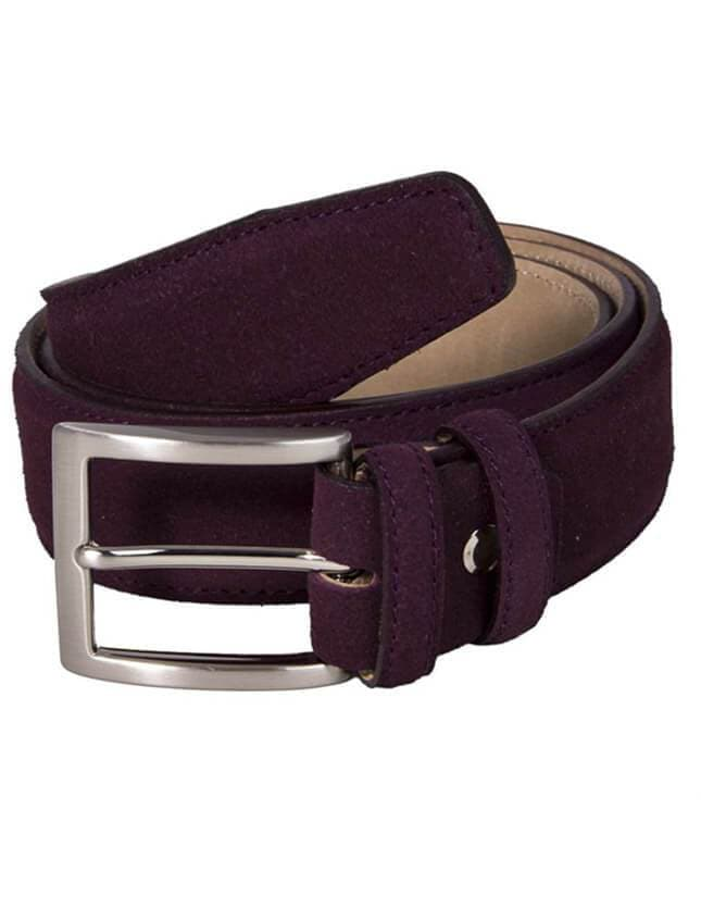 Burgundy Trento Solid Suede Belt