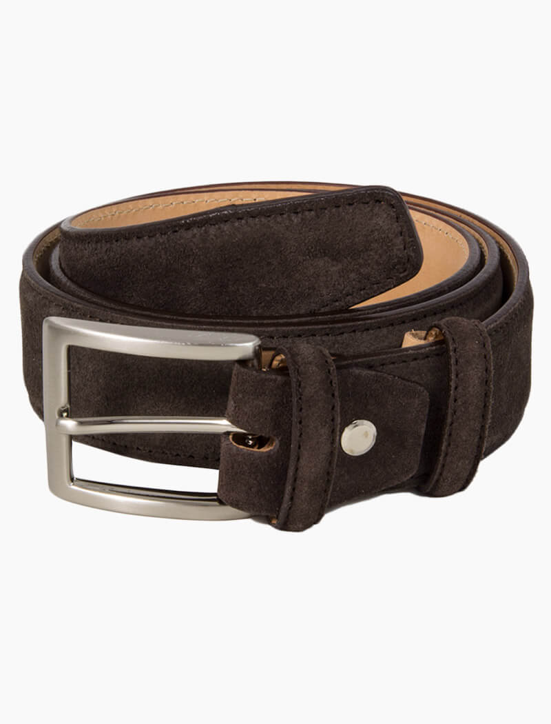 Dark Brown Trento Solid Suede Belt