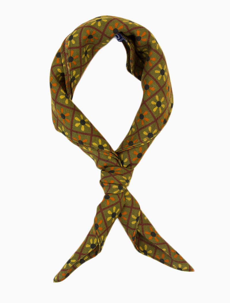 Olive Green Propeller Printed Wool Bandana