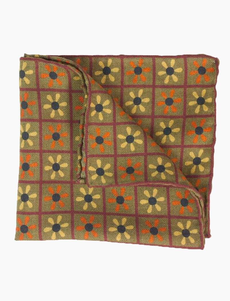 Olive Green Propeller Printed Wool Bandana | 40 Colori