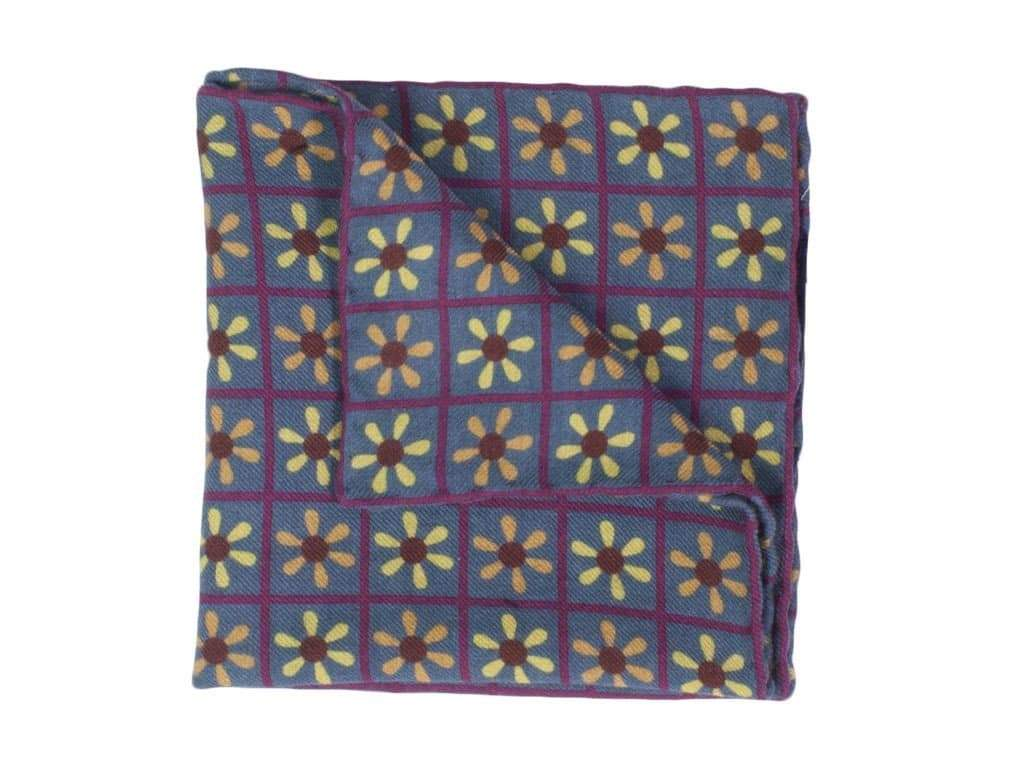 Propeller Printed Wool & Silk Pocket Square
