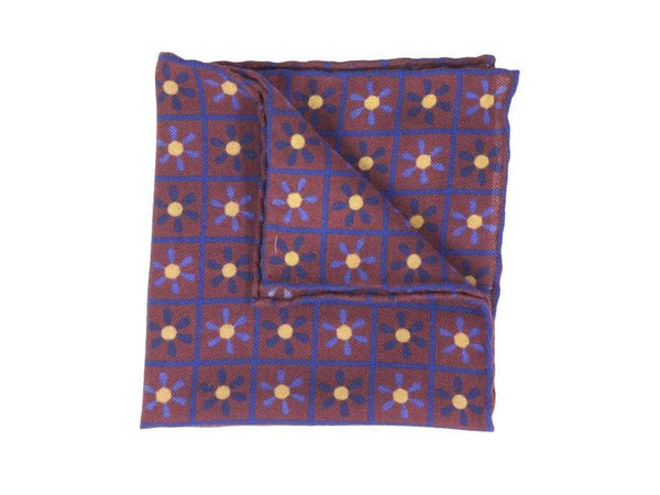 PROPELLER PRINTED WOOL AND SILK POCKET SQUARE