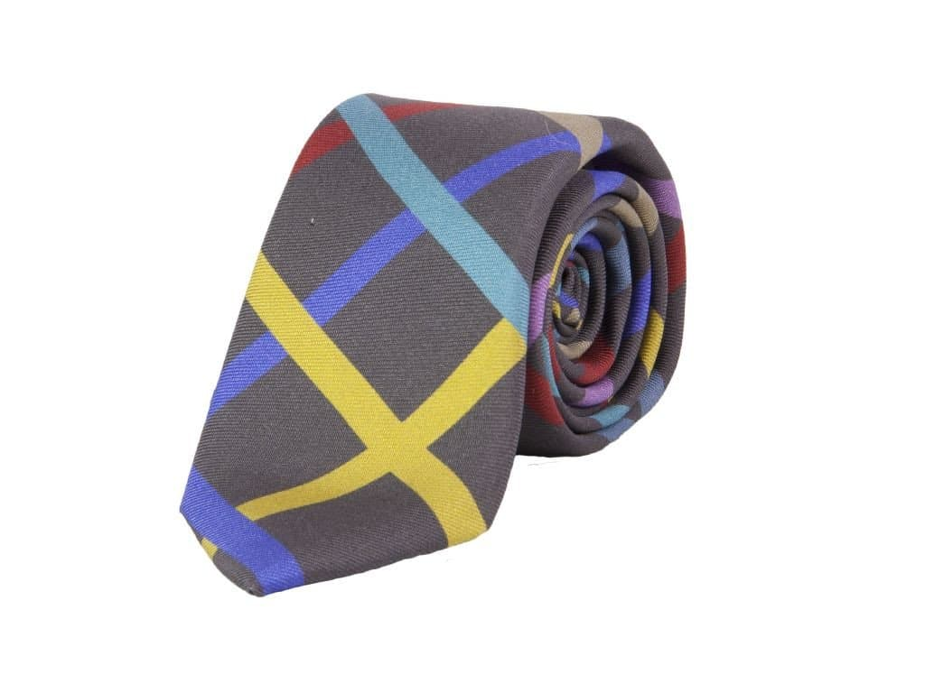 Criss-Cross Printed Silk Tie