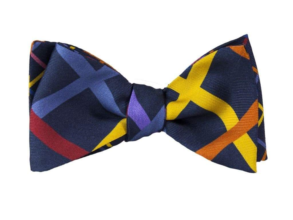 CRISSCROSS PRINTED SILK BUTTERFLY BOW TIE