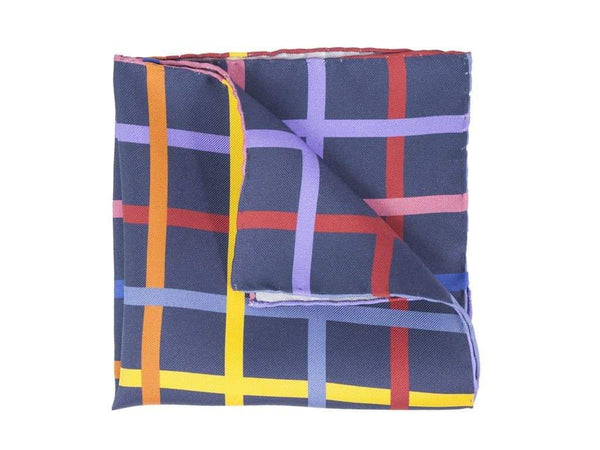 CRISSCROSS PRINTED SILK POCKET SQUARE