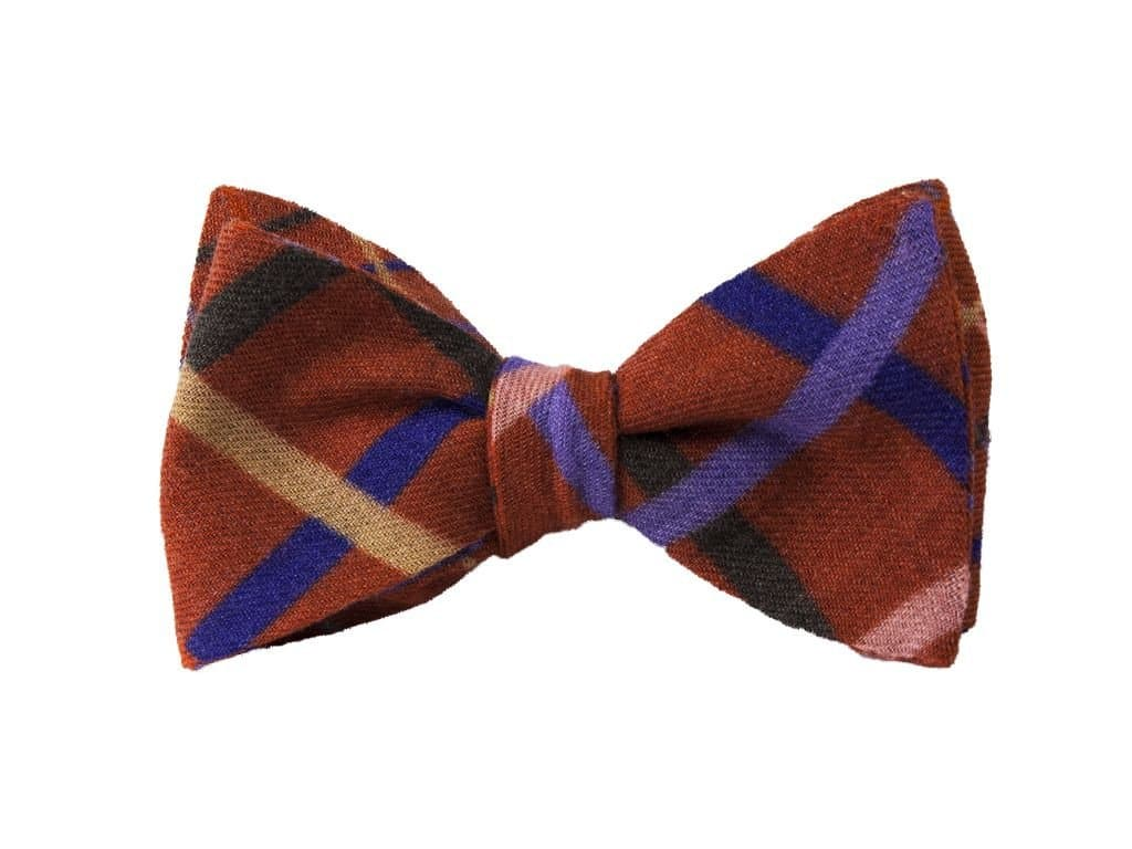 Criss-Cross Printed Wool Butterfly Bow Tie