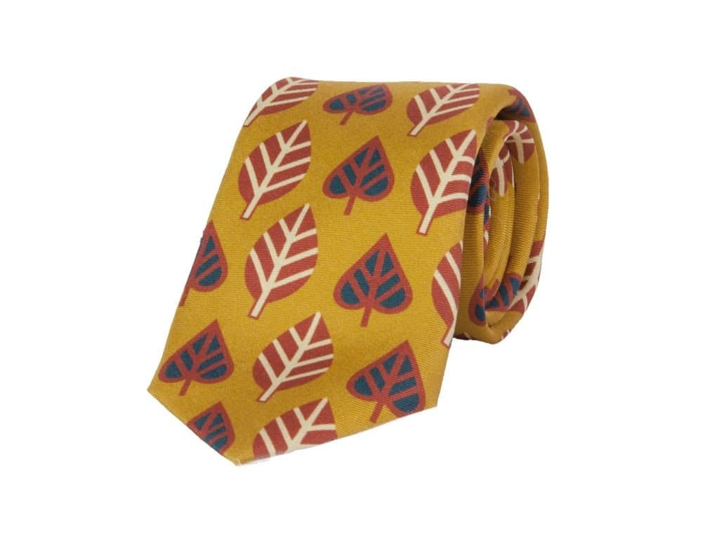 Leaves Printed Silk Tie