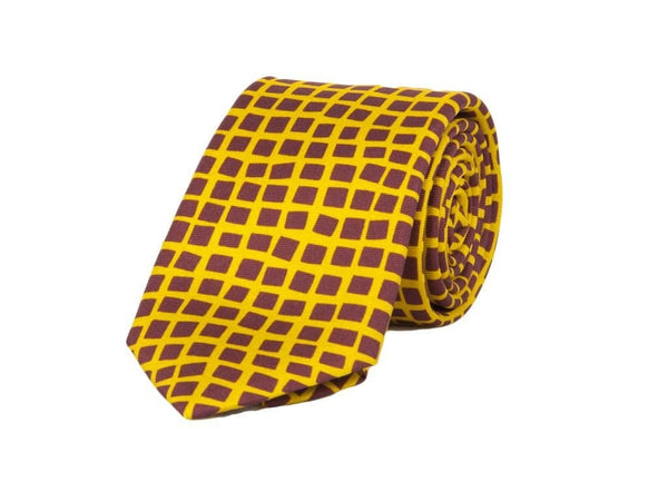 Square Net Printed Silk Tie