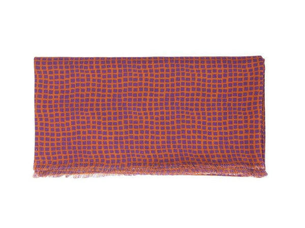 SQUARE NET PRINTED WOOL SCARF