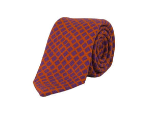 Square Net Printed Wool Tie