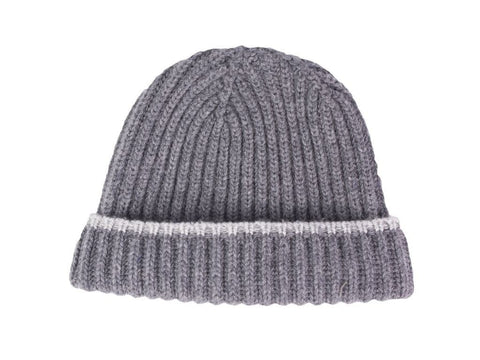 Grey Ribbed Wool and Cashmere Hat