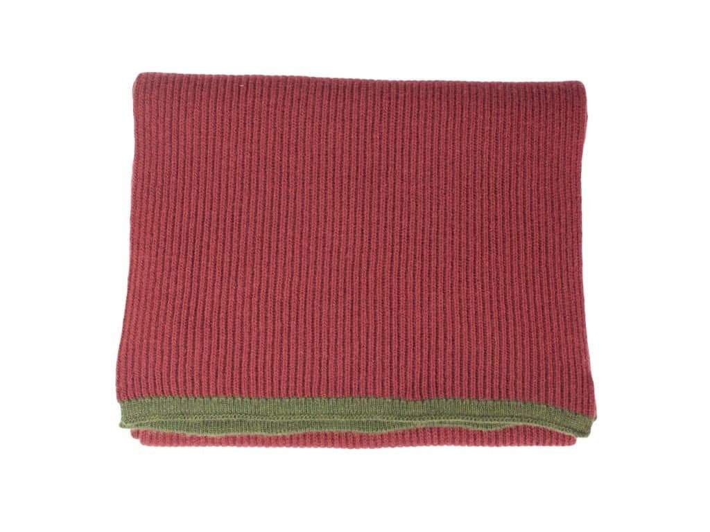 SMALL RIBBED WOOL AND CASHMERE SCARF