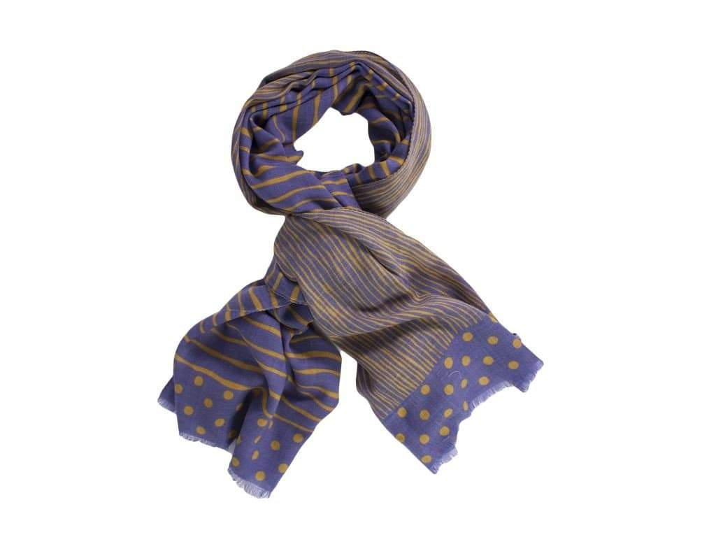 DOTTED AND STRIPED PRINTED WOOL SCARF