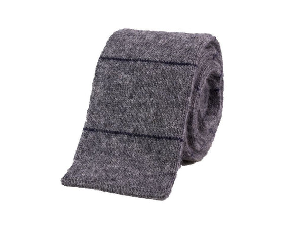 MICRO BAR STRIPED WOOL AND CASHMERE KNITTED TIE