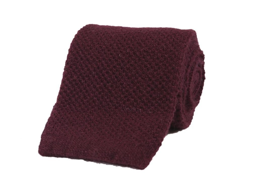 SOLID WOOL AND CASHMERE KNITTED TIE