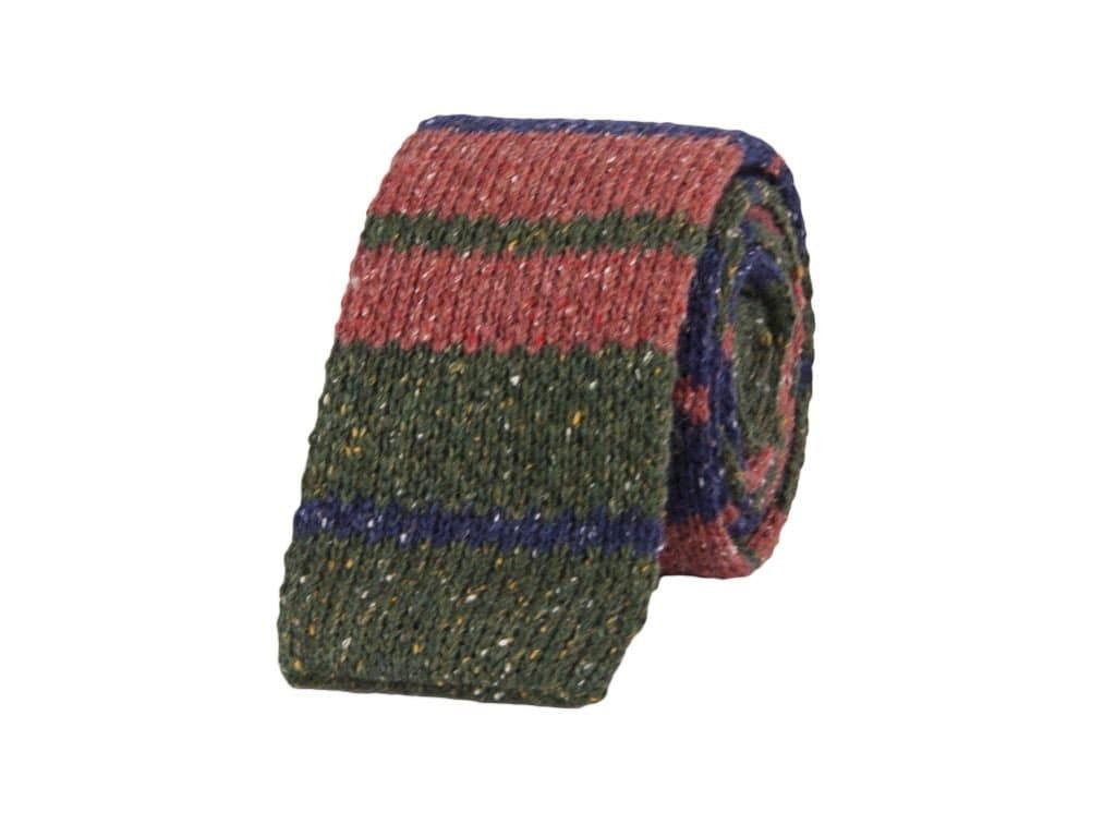RUSTIC STRIPED WOOL MELANGE KNITTED TIE
