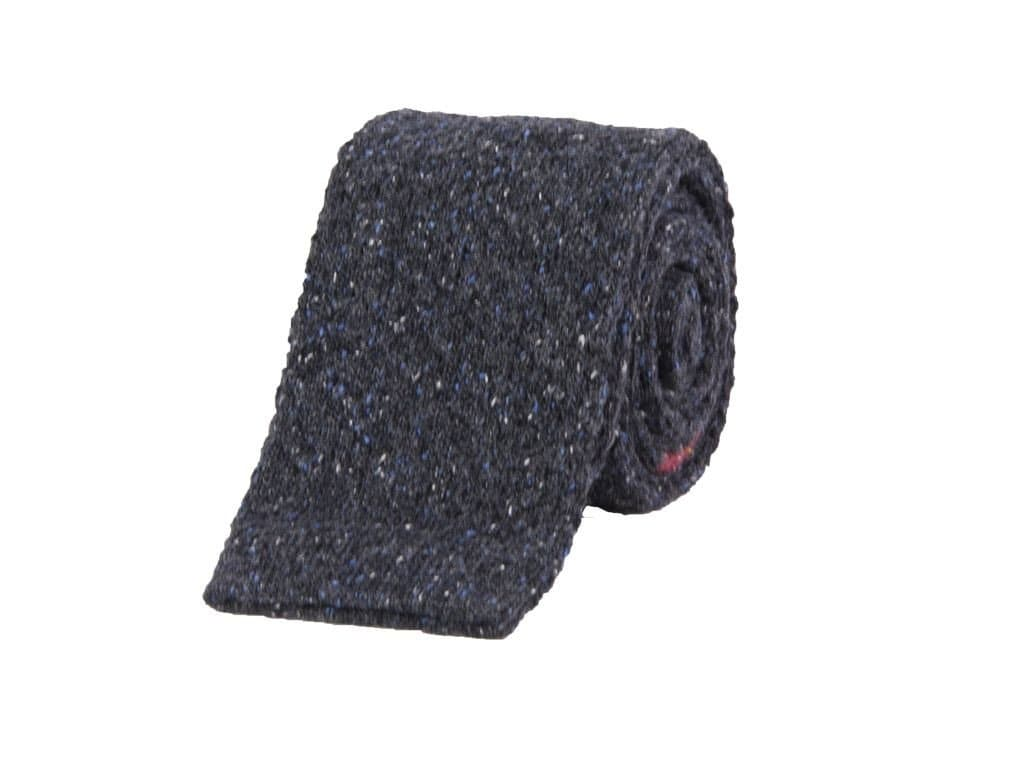 Double Upper Striped Wool Melange Knitted Tie
