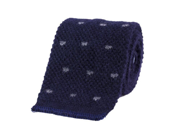 DOTTED WOOL AND CASHMERE KNITTED TIE
