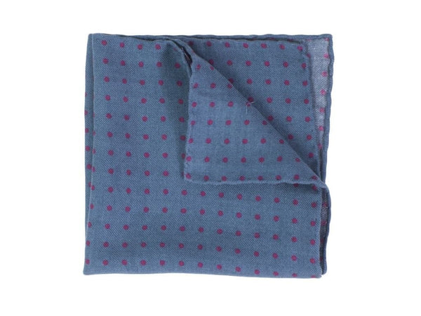 POLKA DOT PRINTED WOOL AND SILK POCKET SQUARE