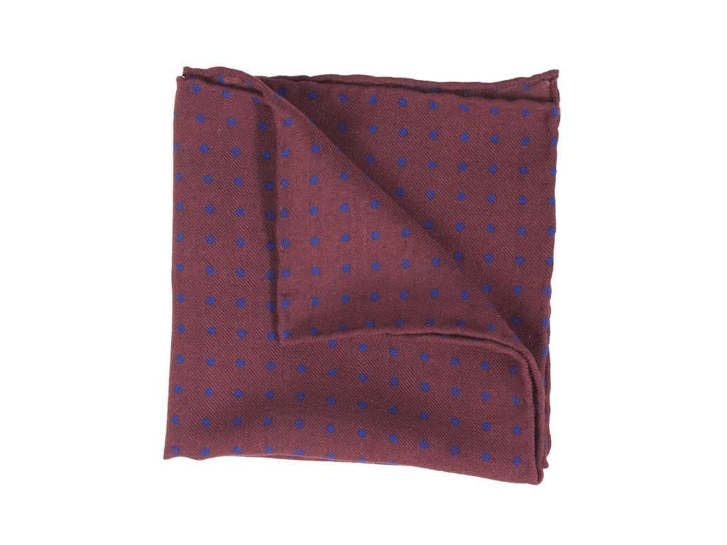 Polka Dot Printed Wool & Silk Pocket Square