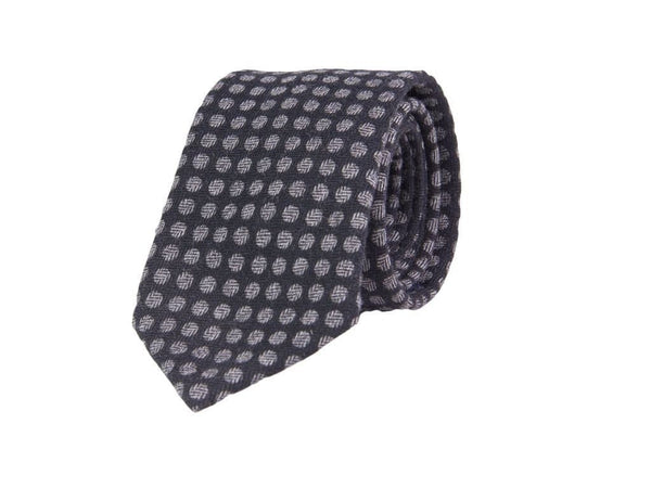 BLACK POLKA DOT WOOL TIE