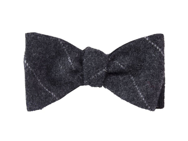 CHARCOAL THIN BAR STRIPED CASHMERE BUTTERFLY BOW TIE