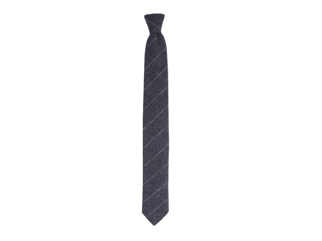 CHARCOAL THIN BAR STRIPED CASHMERE TIE