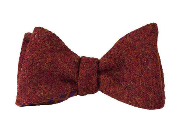 RED MELANGE WOOL BUTTERFLY BOW TIE