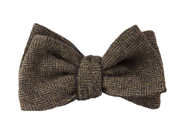 BROWN HERRINGBONE WOOL WINDSOR BOW TIE
