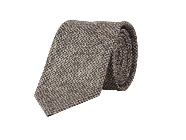 BROWN SMALL HOUNDSTOOTH WOOL TIE