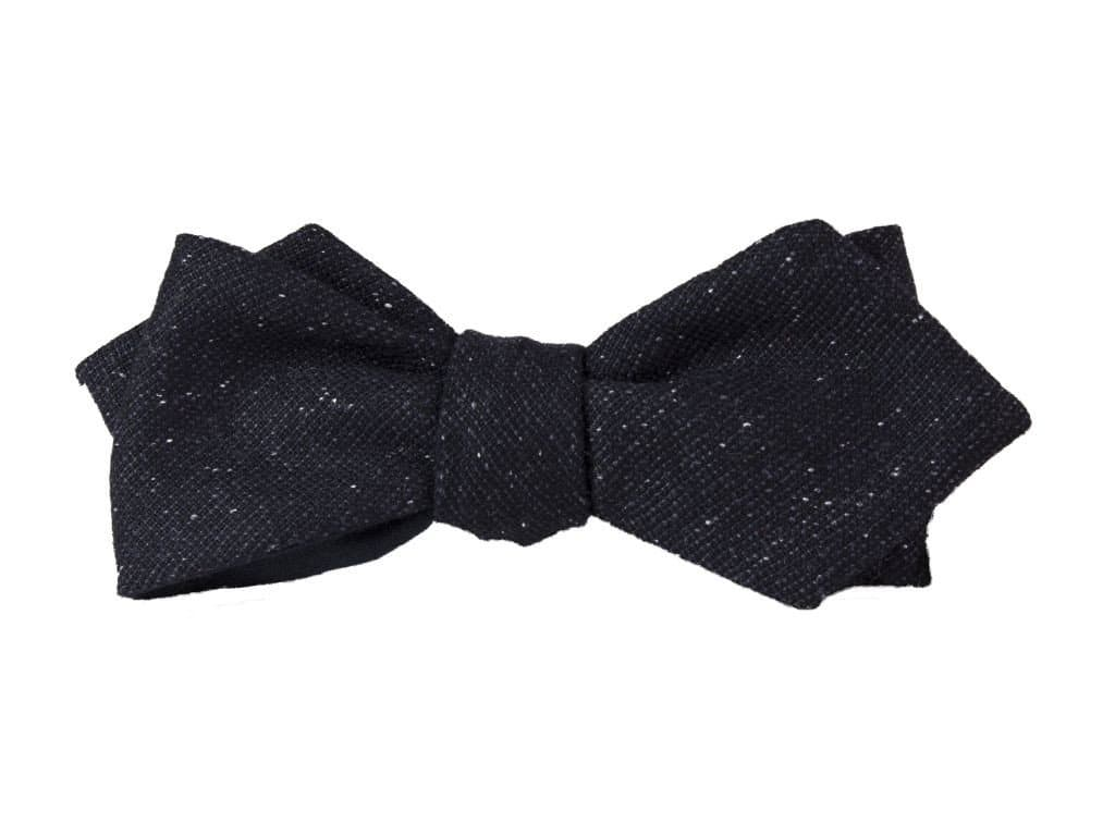 BLACK MICRO DOT WOOL SPENCER BOW TIE