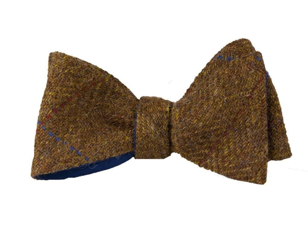 BROWN CRISSCROSS MELANGE WOOL BUTTERFLY BOW TIE