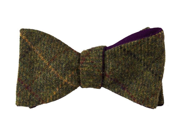 GREEN CRISSCROSS MELANGE WOOL BUTTERFLY BOW TIE