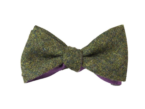 GREEN MELANGE WOOL BUTTERFLY BOW TIE