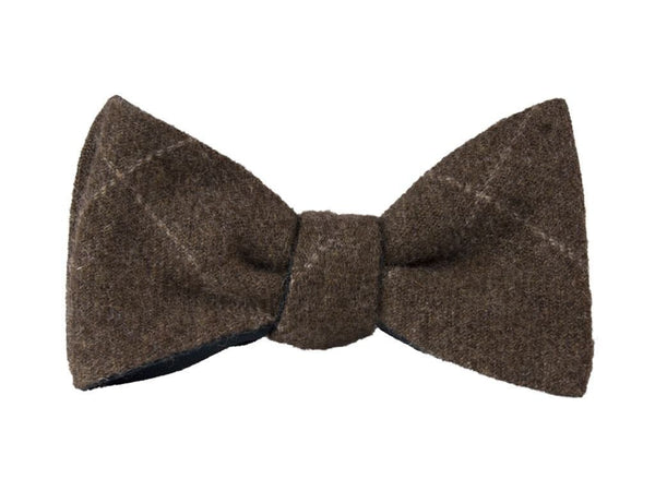 BROWN THIN CRISSCROSS CASHMERE BUTTERFLY BOW TIE
