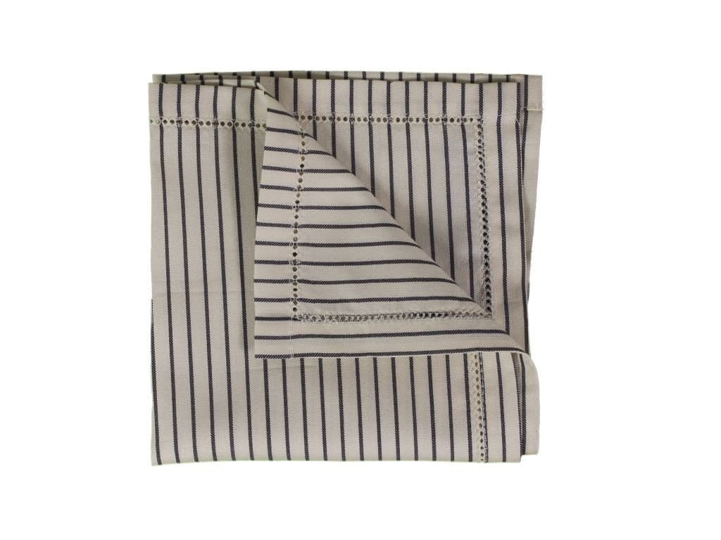 CREAM STRIPED COTTON POCKET SQUARE