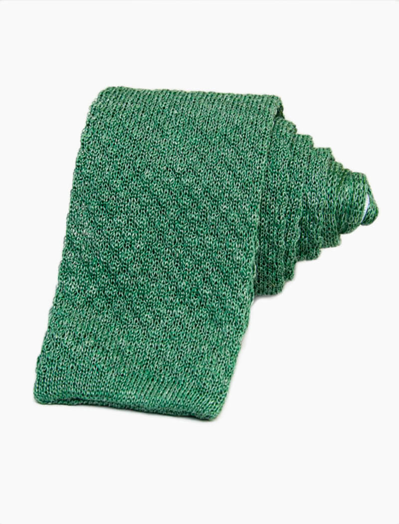 Green Solid Melange Linen Knitted Tie | 40 Colori