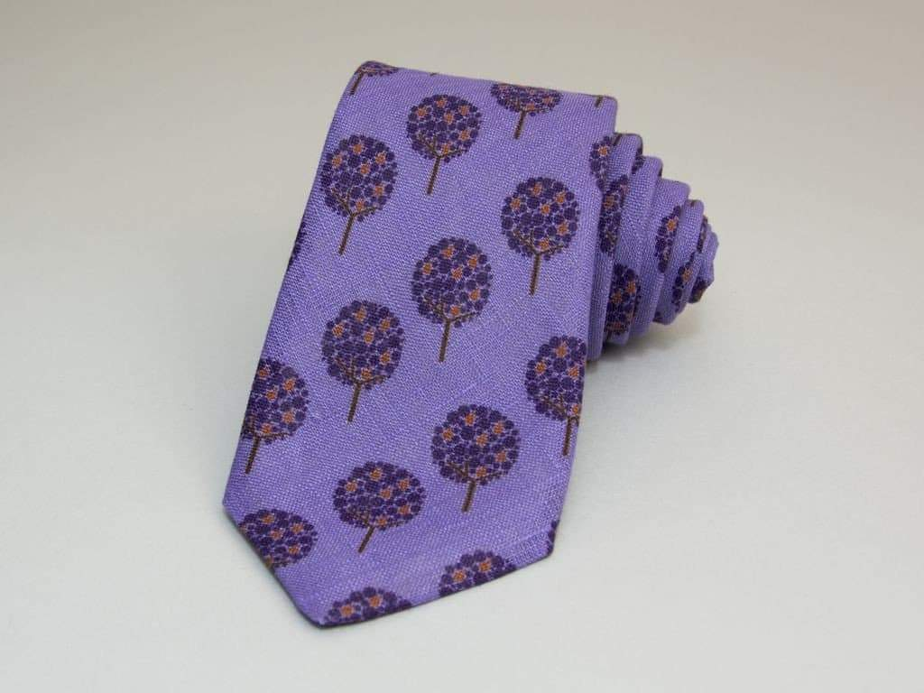 Apple Tree Printed Linen Tie