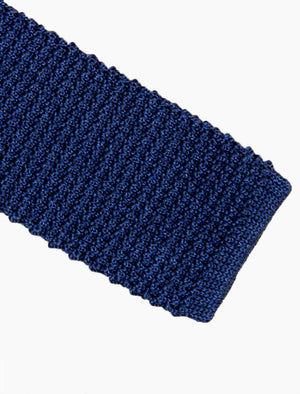 Navy Solid Jaspe'  Silk Knitted Tie | 40 Colori