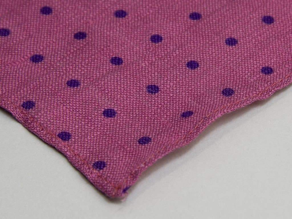 Polka Dot Printed Linen Pocket Square