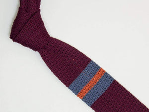 Double Upper Striped Mercerised Cotton Jacquard Knitted Tie