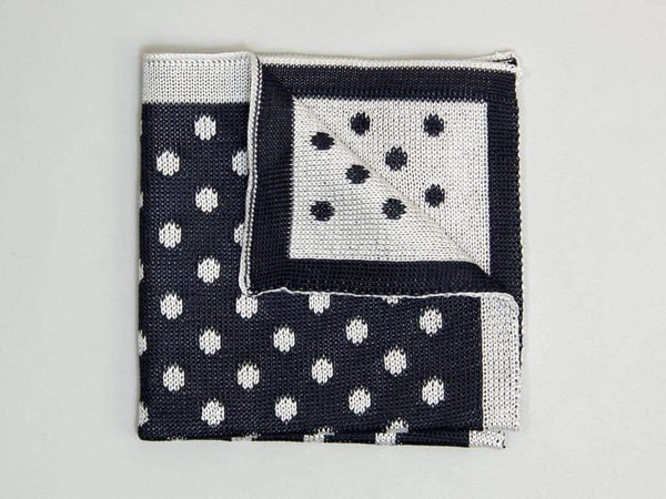 REVERSIBLE DOTTED SILK KNITTED POCKET SQUARE