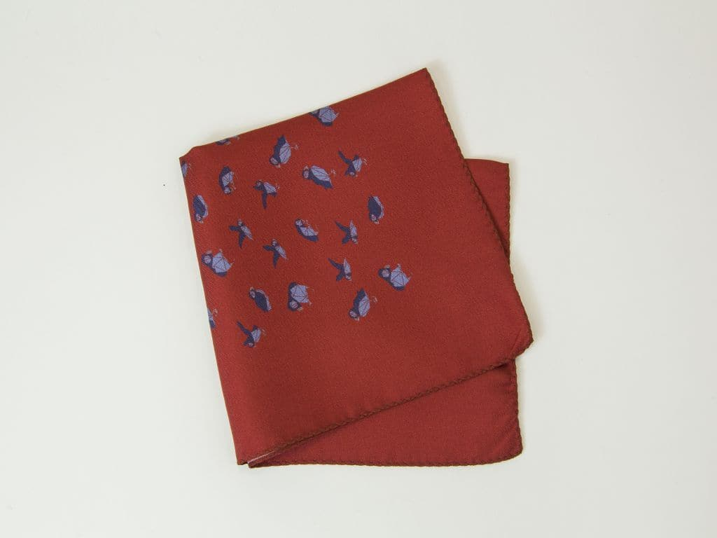 Puffins Printed Silk Pocket Square